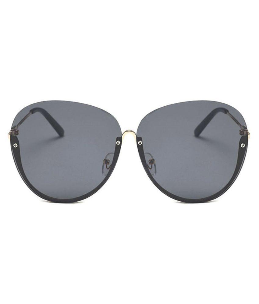 New Women Fashion Big Transparent Personality Oversized Metal Rimless Sunglasses