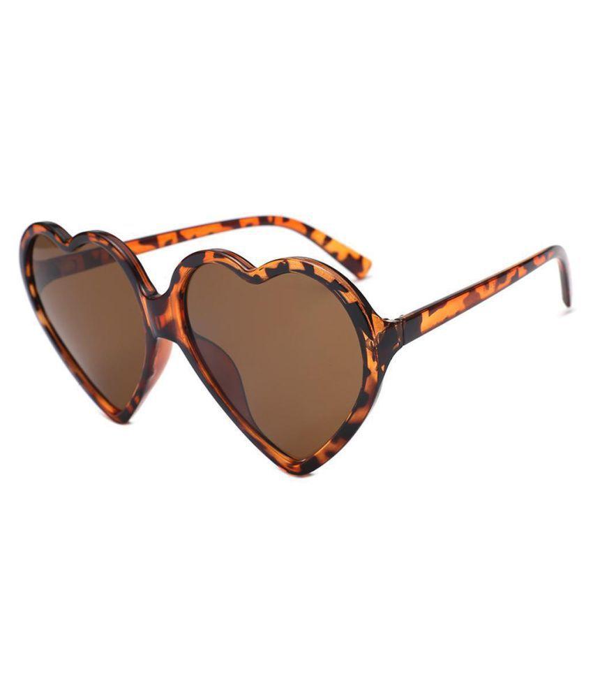 Women Love Heart Shape Transparent Lens Sunglasses Plastic Frame Sun Glass