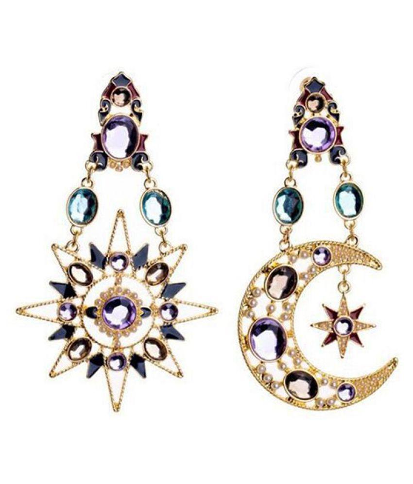Women Fashion Personality Colorful Rhinestone Star Moon Drop Earrings Jewelry