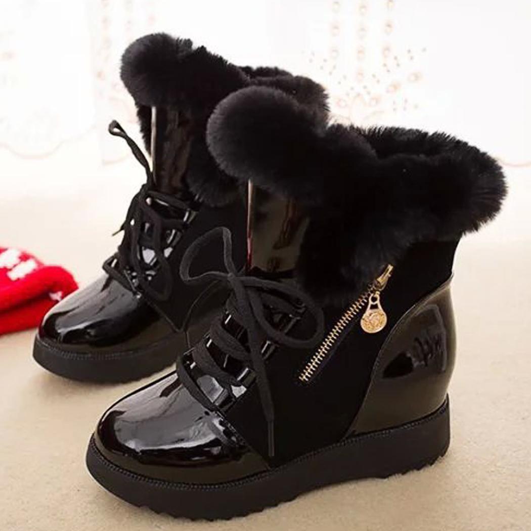 16271d295df55 ... Fashion Women Winter Warm Lace Up Ankle Snow Boot Flat Heel Fleece  Lined Size 36- ...