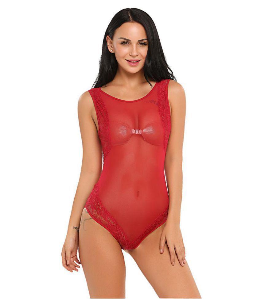 Women Sexy One Piece Lingerie Bodysuit Lace Patchwork Sheer Mesh Teddy Nightwear
