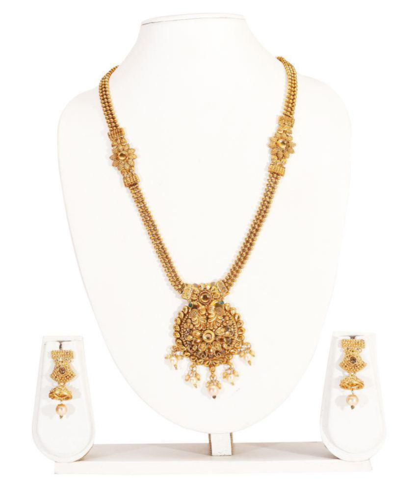 MUKH Alloy Golden Other Traditional Gold Plated Necklaces Set