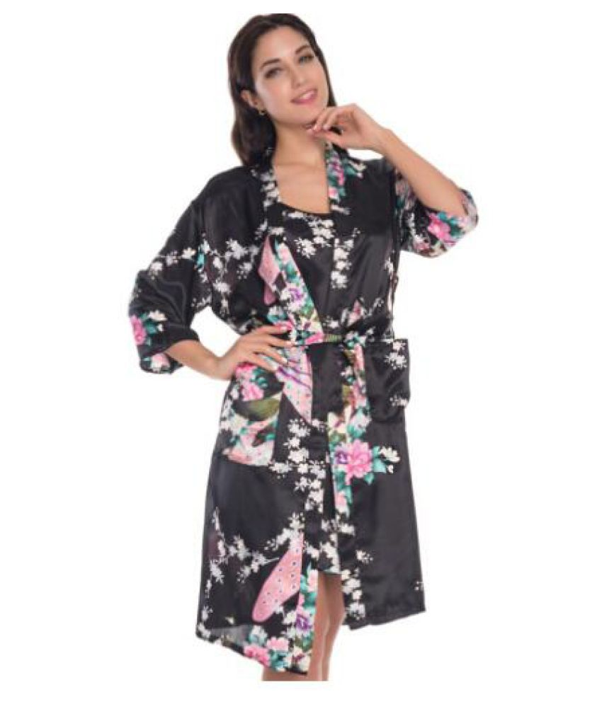 WowObjects Polyester Nightsuit Sets - Black