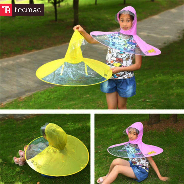 db482d3d055 ... tecmac S-Size Creative UFO Waterproof Hands-Free Umbrella Rain Hat  Headwear Cap Raincoat ...