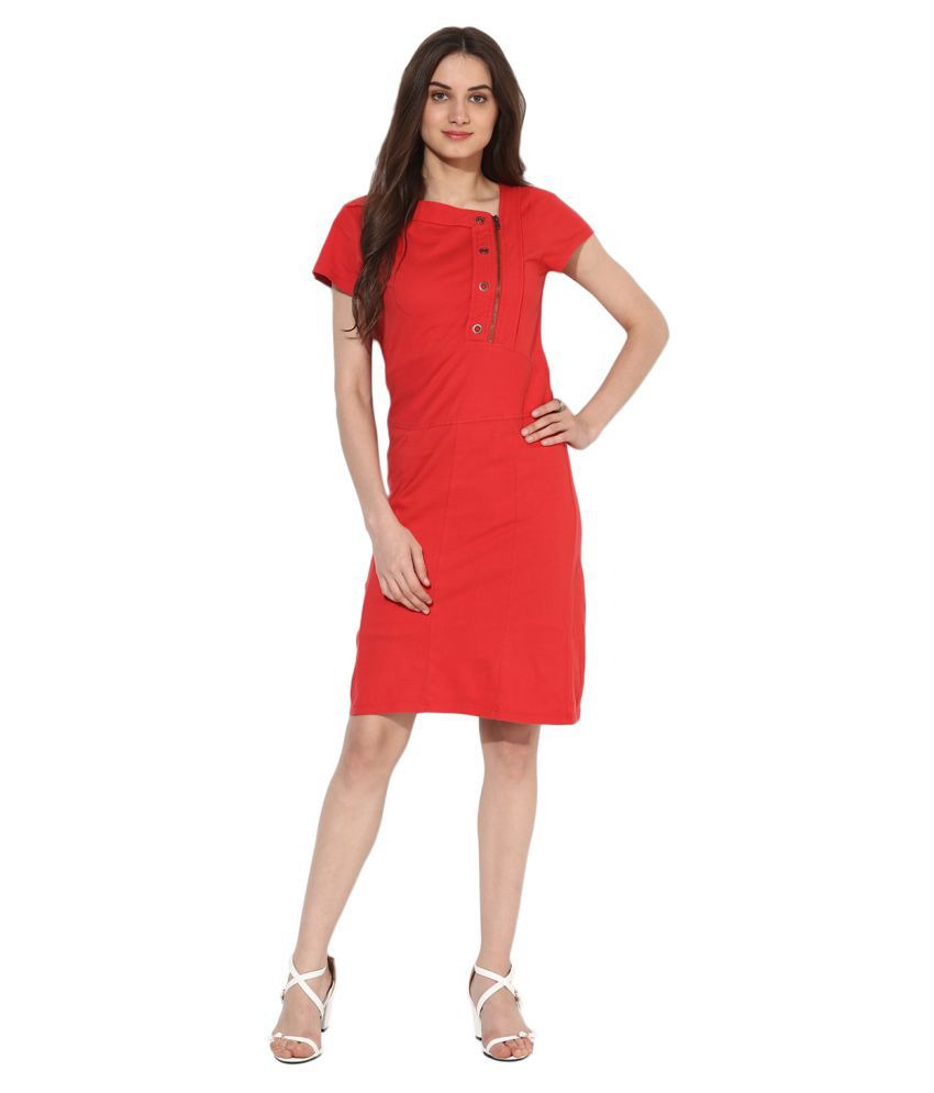 HEATHER HUES Polyester Red A- line Dress