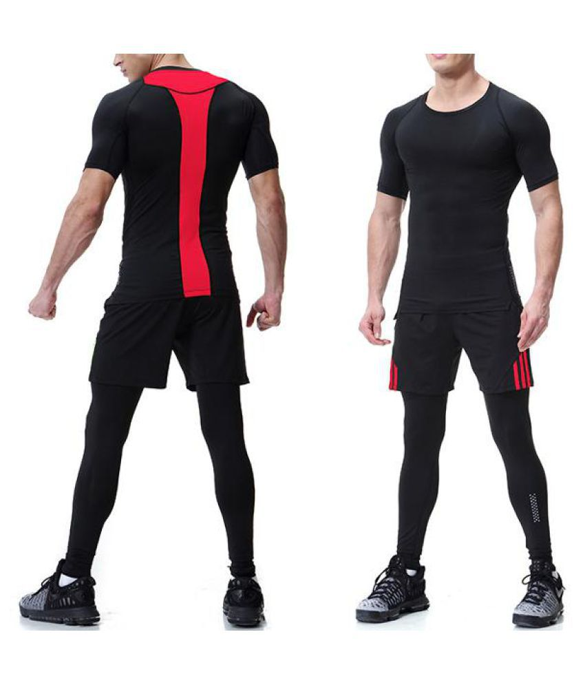 PRO Compression Quick-drying Skinny Training Fitness Three-piece Sport Suits for Mens