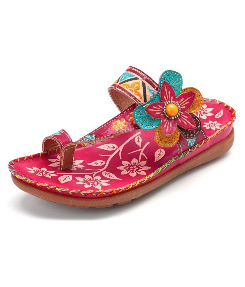 635906d3786 ... SOCOFY Bohemian Genuine Leather Handmade Adjustable Hook Loop Flat  Sandals ...