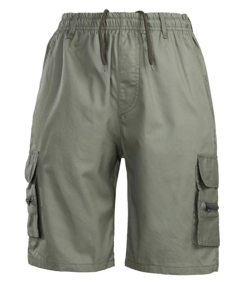 a834498d45 ... Mens Summer Multi-pocket Knee Length Cargo Shorts Solid Color Casual  Breathable Cotton Shorts