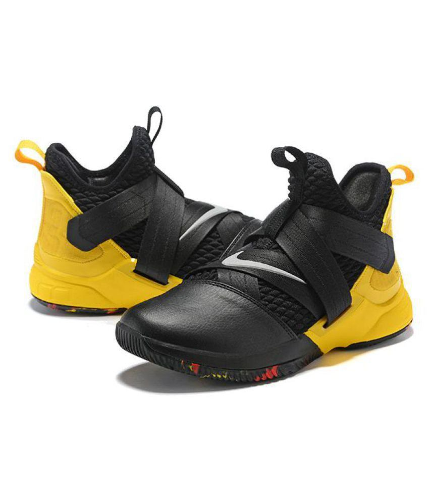 61e31bf356bac Nike Lebron soldier 12 black yellow Midankle Male Black  Buy Online at Best  Price on Snapdeal