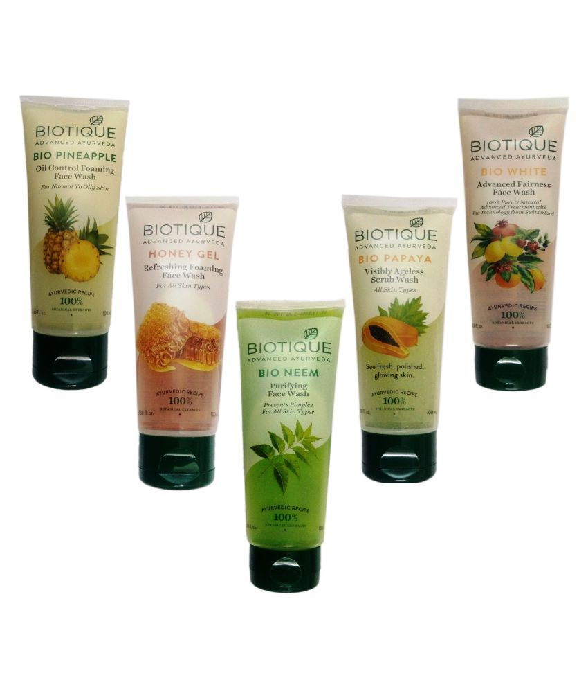 2a4bc12057 Biotique PINEAPPLE+HONEY GEL+NEEM+BIO WHITE +PAPAYA SCRUB FACE WASH 100ML Face  Wash 100 ml Pack of 5  Buy Biotique PINEAPPLE+HONEY GEL+NEEM+BIO WHITE ...