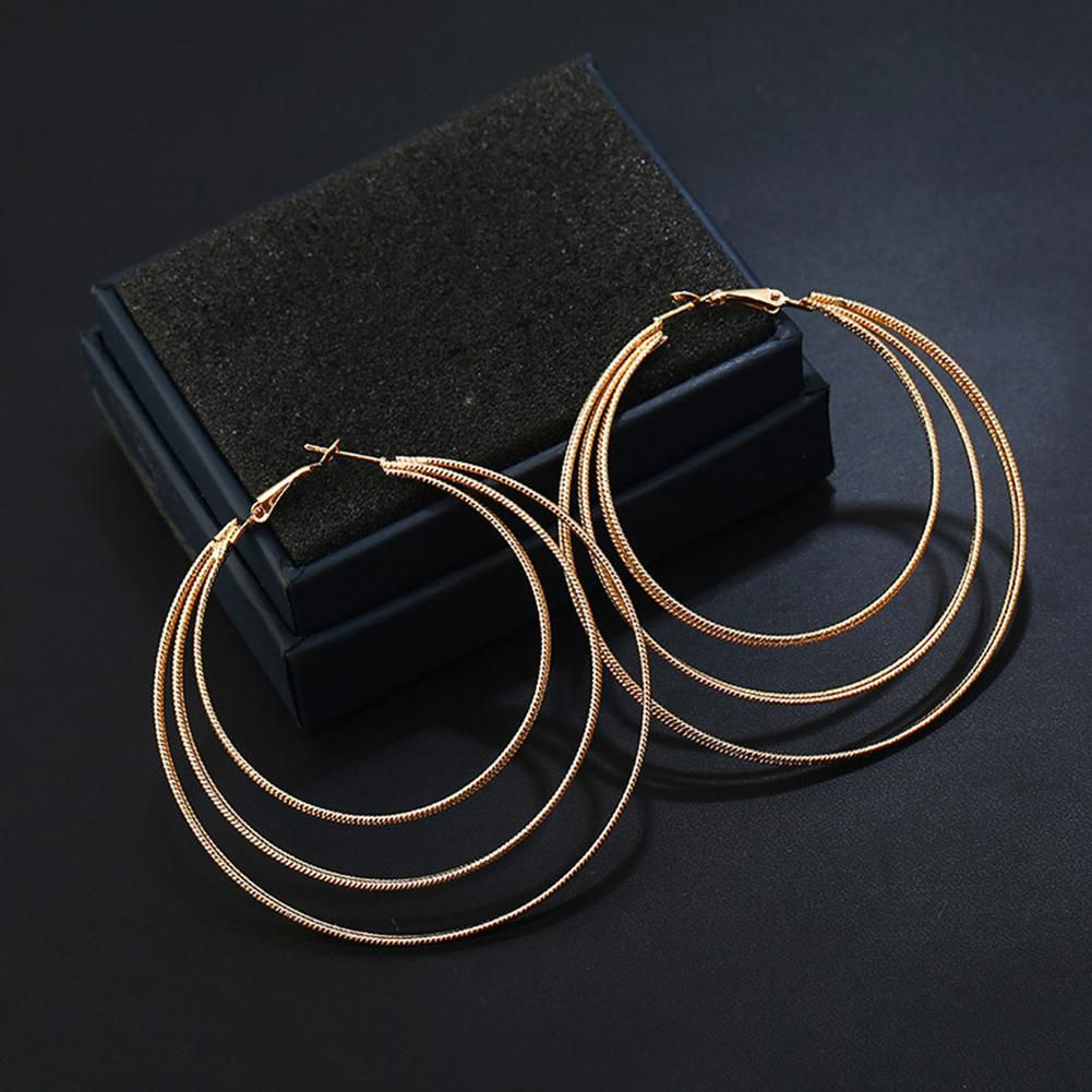 Fashion Women Alloy Three Layers Circle Hoop Earrings Lady Ear Jewelry Gift