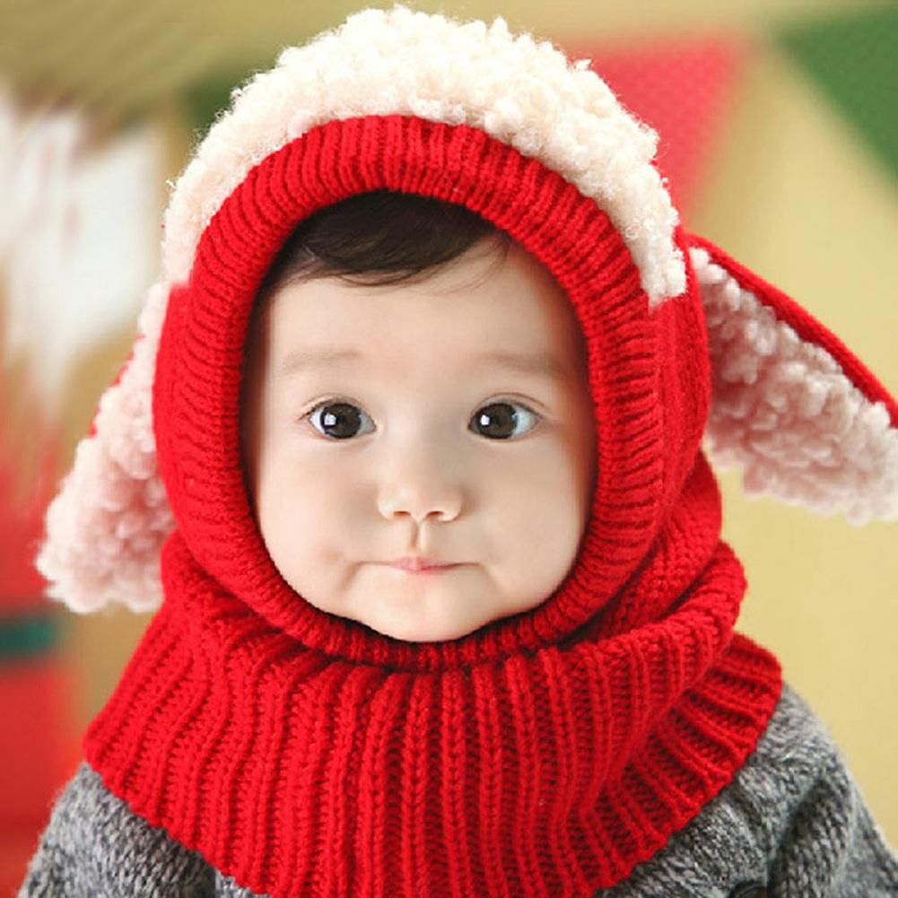 3e47dbc2c12 ... Cute Baby Toddler Winter Beanie Warm Hat Hooded Scarf Earflap Knitted Cap  Kids V ...