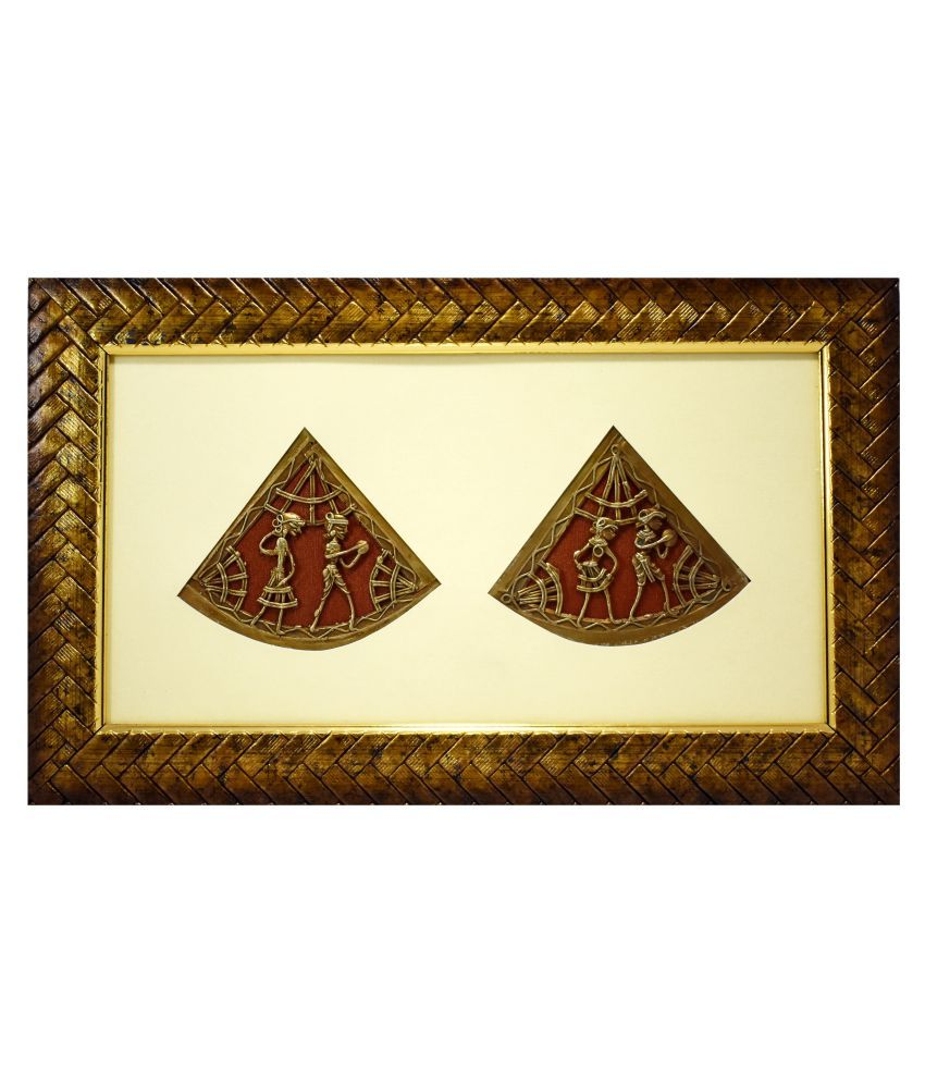 Gallery 99 Brass Warli Art 2 Triangle Human Figurine on Golden Bordered Frame Canvas Painting With Frame