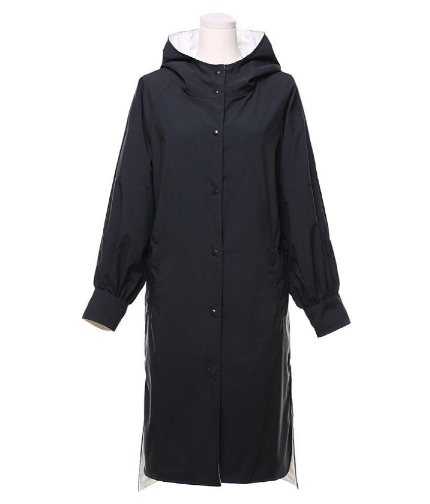 Destiny Waterproof Long Raincoat - Black