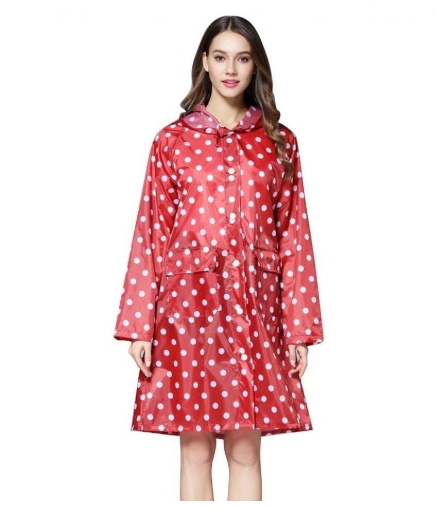 Destiny Waterproof Long Raincoat - Red