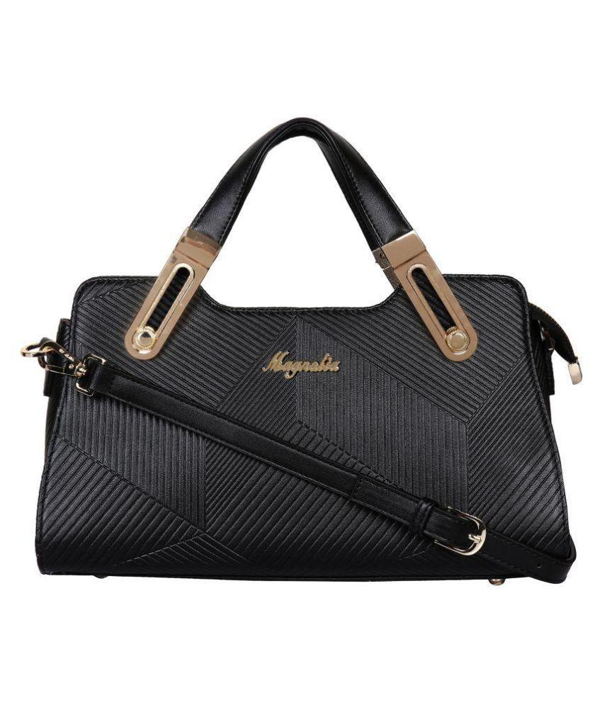 Magnolia Black Faux Leather Shoulder Bag