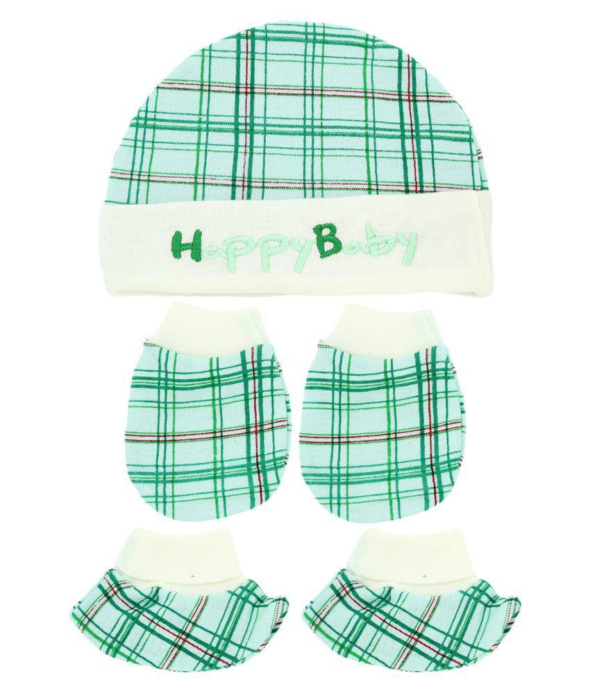 Neska Moda Baby Green Mittens, Booties with Cap Set 3 Pcs Combo (0-6 Months)-MT96