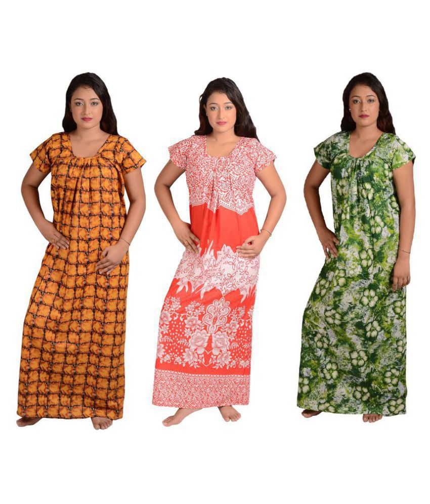 Chakraborty Cotton Nighty & Night Gowns - Multi Color