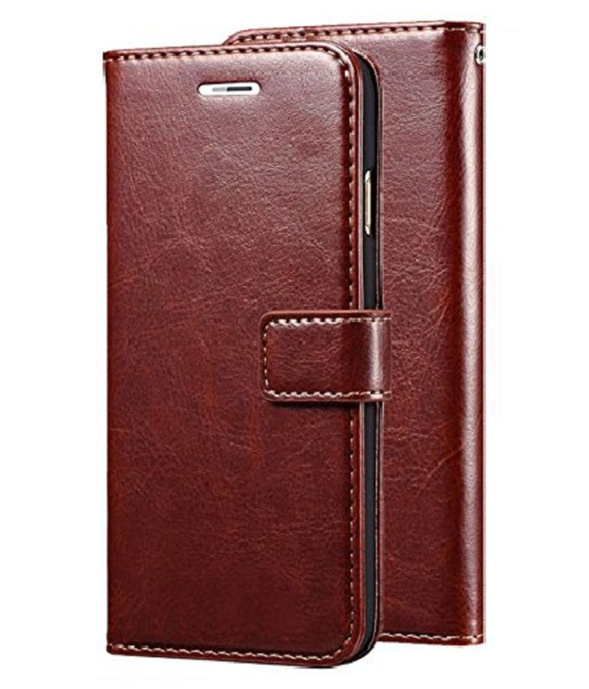 Samsung Galaxy J8 2018 Flip Cover by Shanice - Brown Vintage Flip Cover