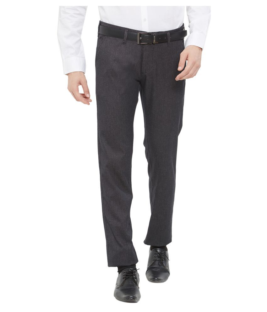 EASIES by KILLER Black Slim -Fit Flat Trousers
