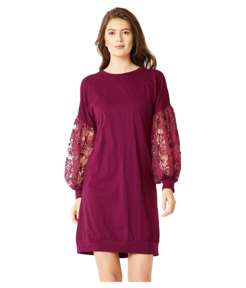 Miss Chase Cotton Purple Shift Dress