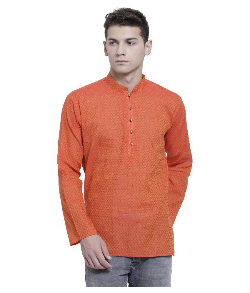 RG Designers Orange Cotton Kurta