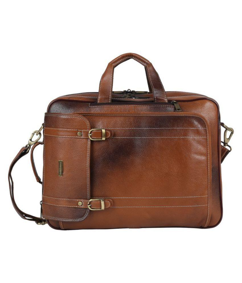 Brand Leather Tan Leather Office Bag