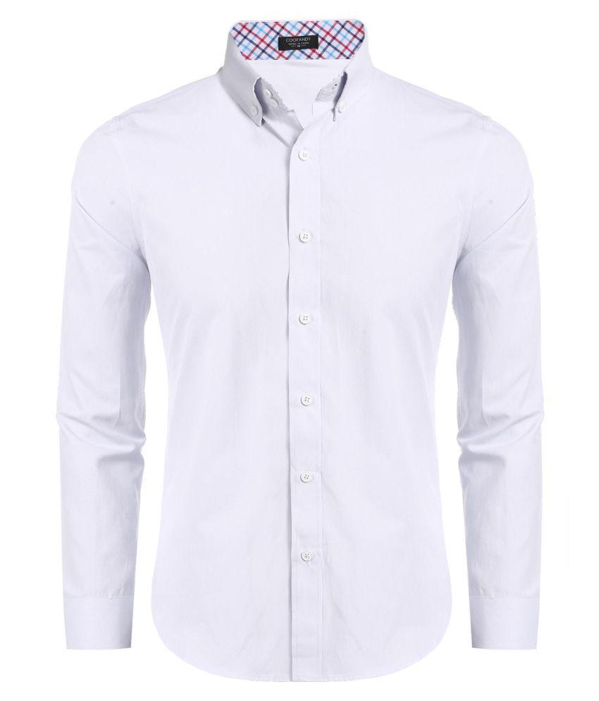 Wofupowga Mens Pure Color Button-Down Loose Long-Sleeve Shirt Shirt