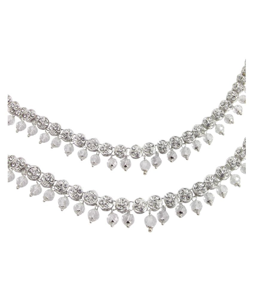 9Blings Trendy Collection Silver Plated CZ Crystal Anklet Payal