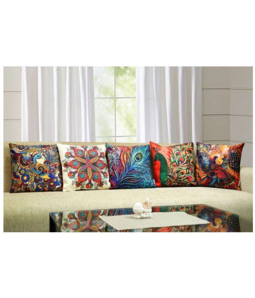 Sahil Enterprises Set of 5 Micro Fabric Cushion Covers 40X40 cm (16X16)
