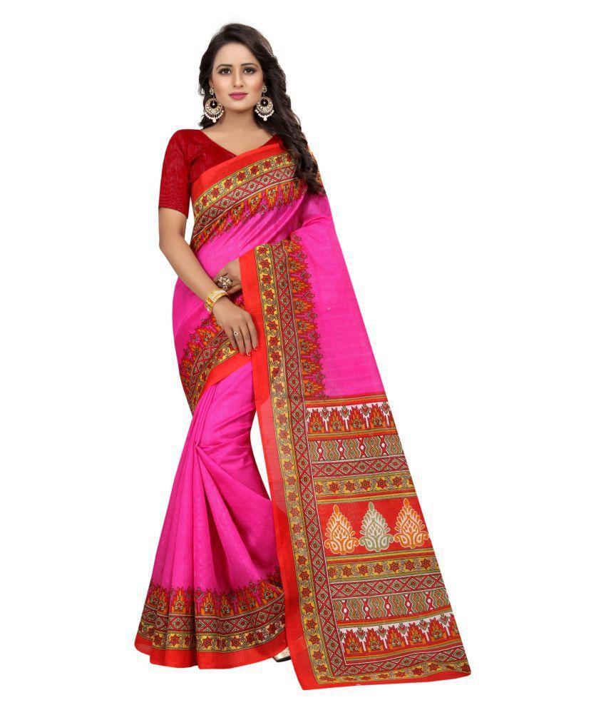 Tithi Kumari Pink Bhagalpuri Cotton Saree