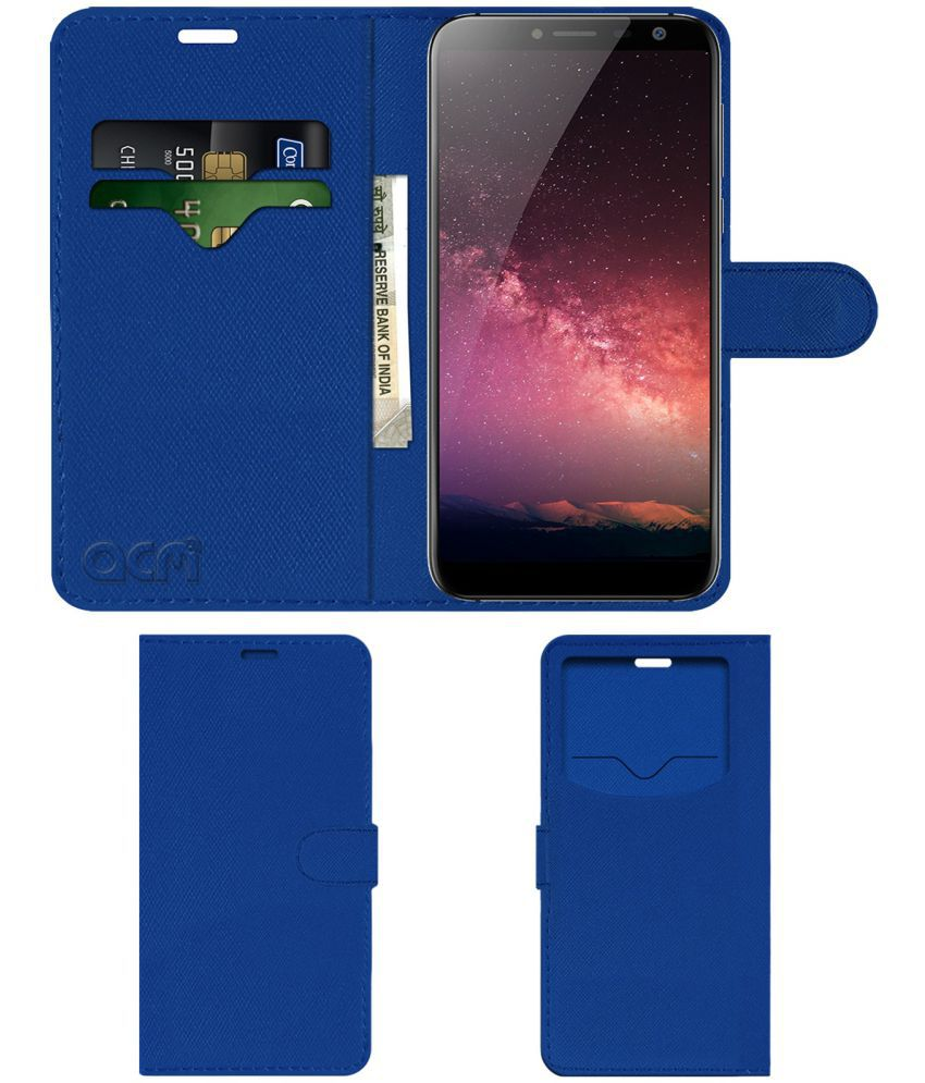 ZOPO FLASH X1 Flip Cover by ACM - Blue Wallet Case,Can store 2 Card & 1 Cash Pockets