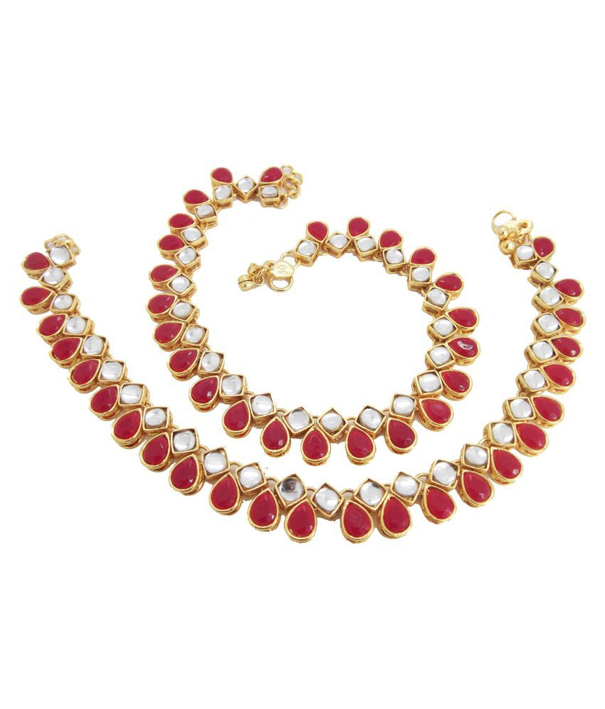 Biyu Kundan Collection Red Stone Gold Plated Anklet Payal