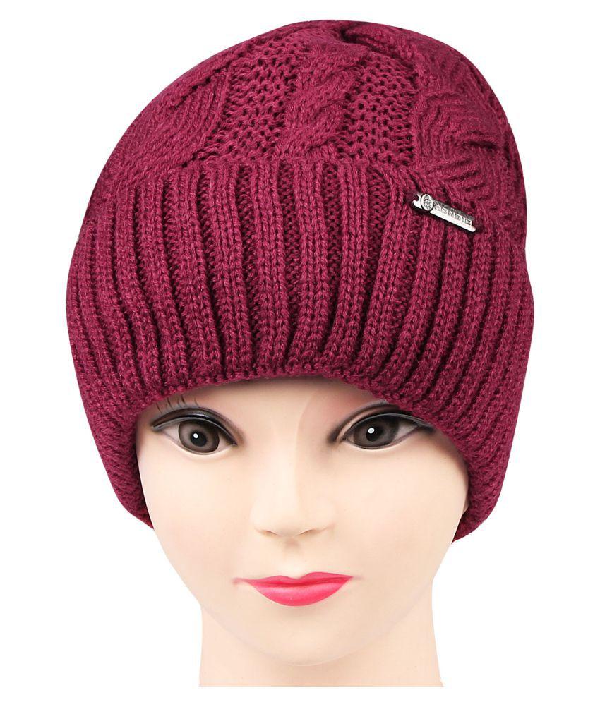 be856d21c7b Bongio women s Maroon Woolen cap  Buy Online at Low Price in India -  Snapdeal