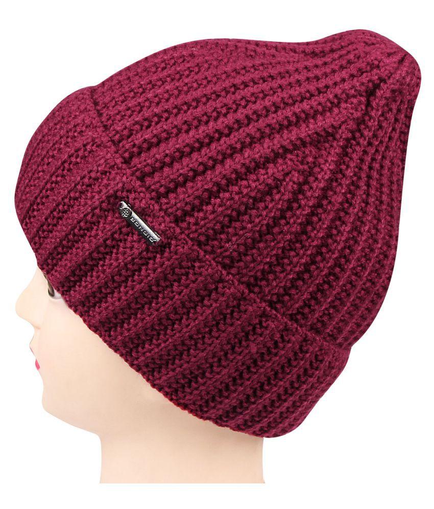 8f7b30c72a7 Bongio women s maroon winter Woolen cap  Buy Online at Low Price in ...