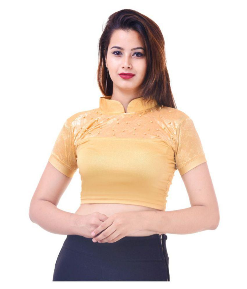 Wow Gold Lycra Readymade without Pad Blouse