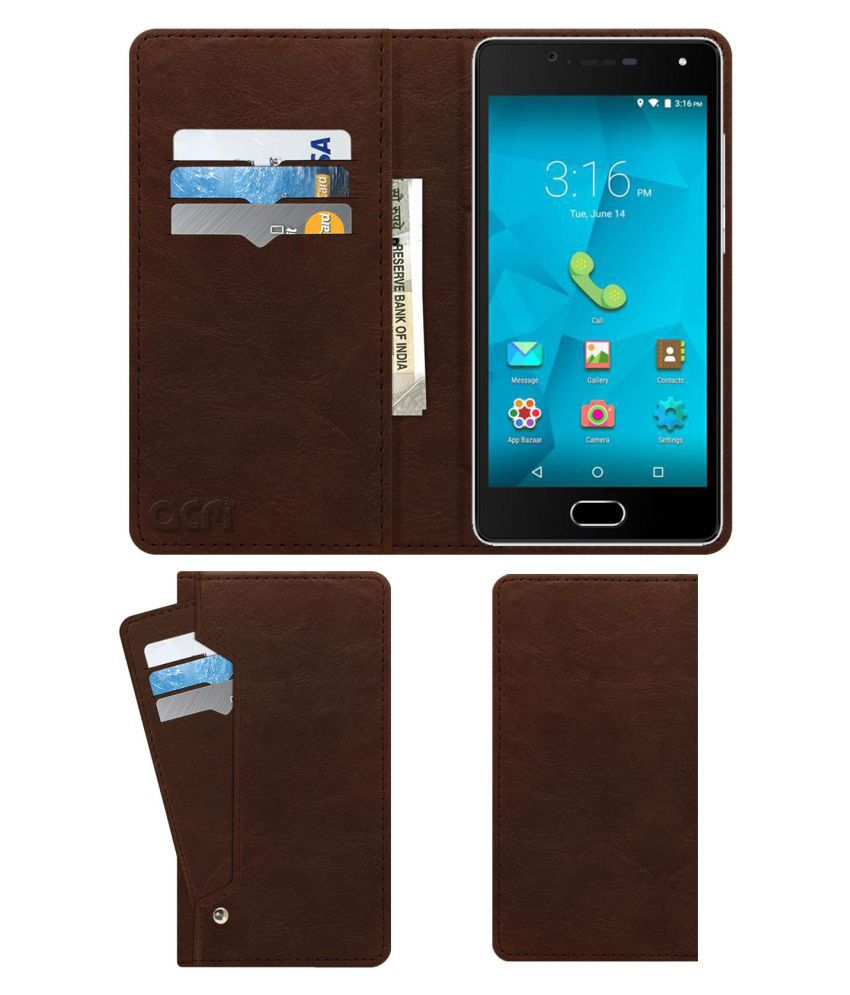 Micromax Unite 4 Plus Flip Cover by ACM - Brown Wallet Case,Can store 6 Card & Cash,Rich Brown