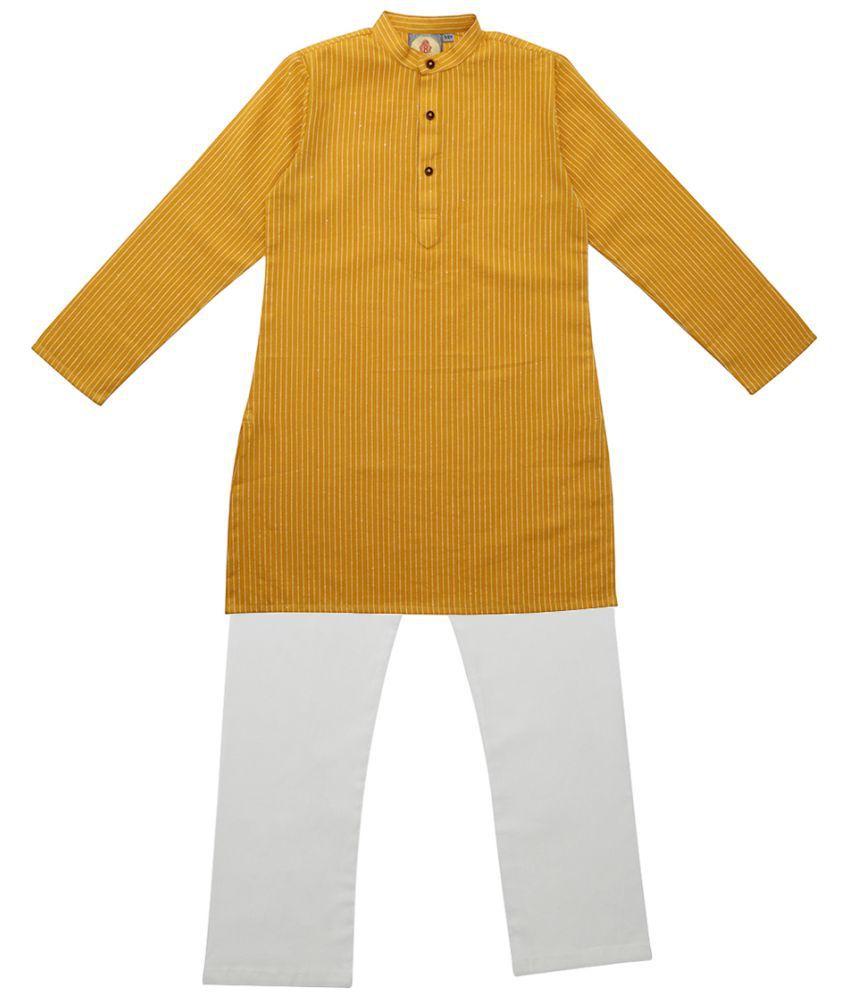 Salwar Studio Gold Ethnic Wear Kids Cotton Kurta Pyjama Set For Boys