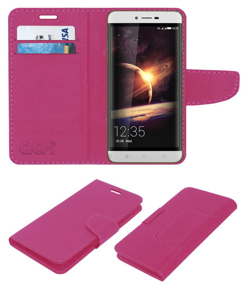 Coolpad Torino Flip Cover by ACM - Pink Wallet Case,Can store 2 Card/Cash