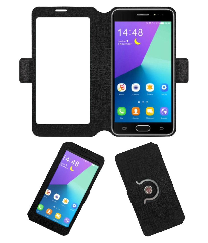 Fly Iq 4550 Flip Cover by ACM - Black Dual Side Stand