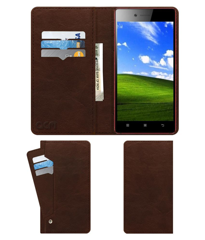 Lenovo Vibe Shot Flip Cover by ACM - Brown Wallet Case,Can store 6 Card & Cash,Rich Brown