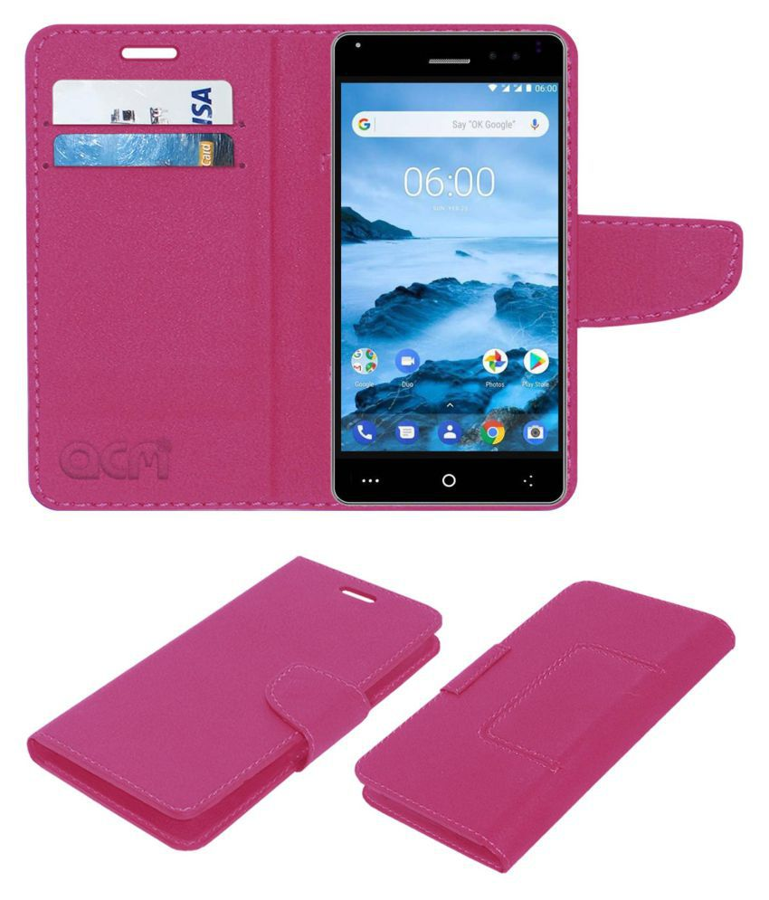 Okwu Pi Plus Flip Cover by ACM - Pink Wallet Case,Can store 2 Card/Cash
