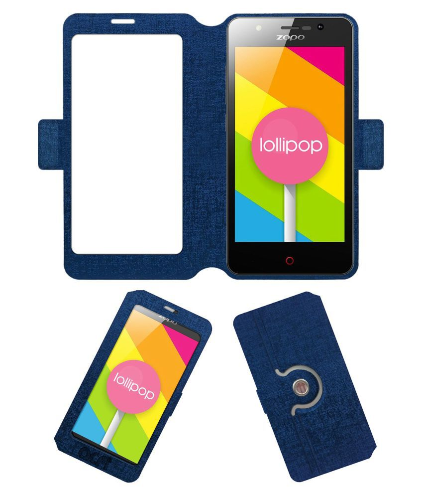 ZOPO COLOR C Flip Cover by ACM - Blue Dual Side Stand