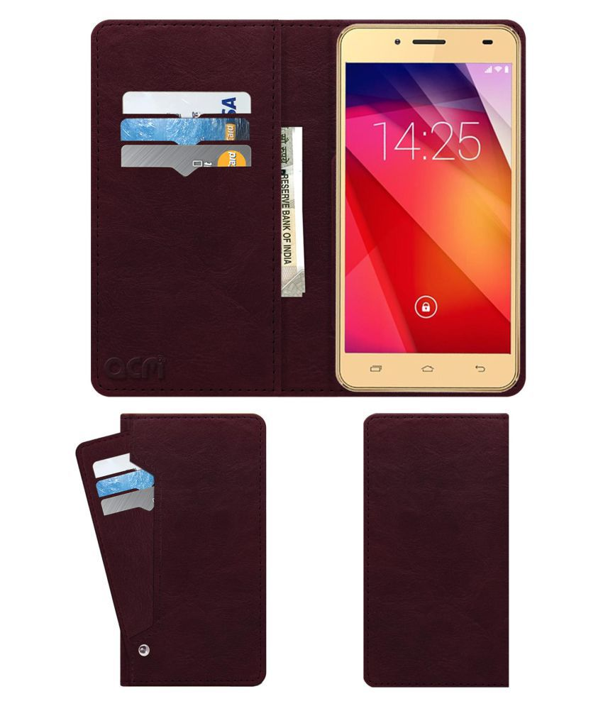 Ziox Astra Young 4G Flip Cover by ACM - Red Wallet Case,Can store 6 Card & Cash,Burgundy Red