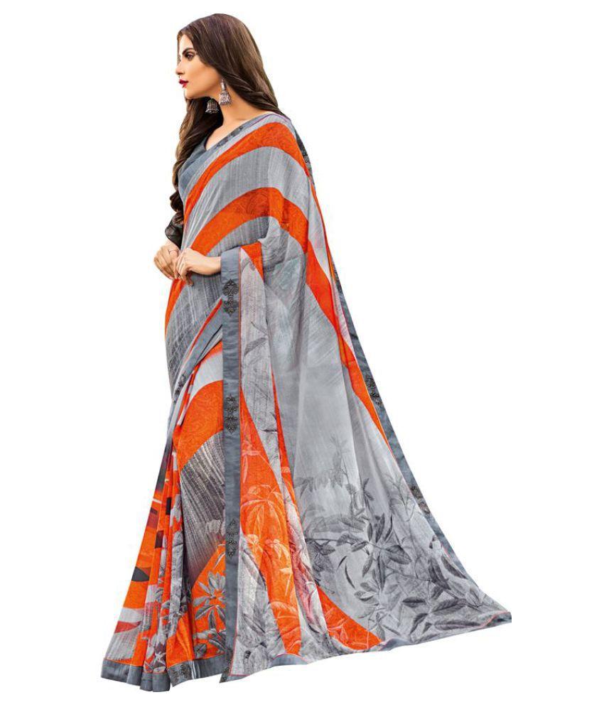 Kumaran Silks Orange and Grey Chiffon Saree