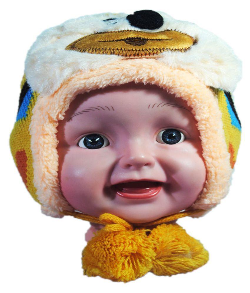 Kids Stylish Winter Cap/ Woollen Cap (Yellow)