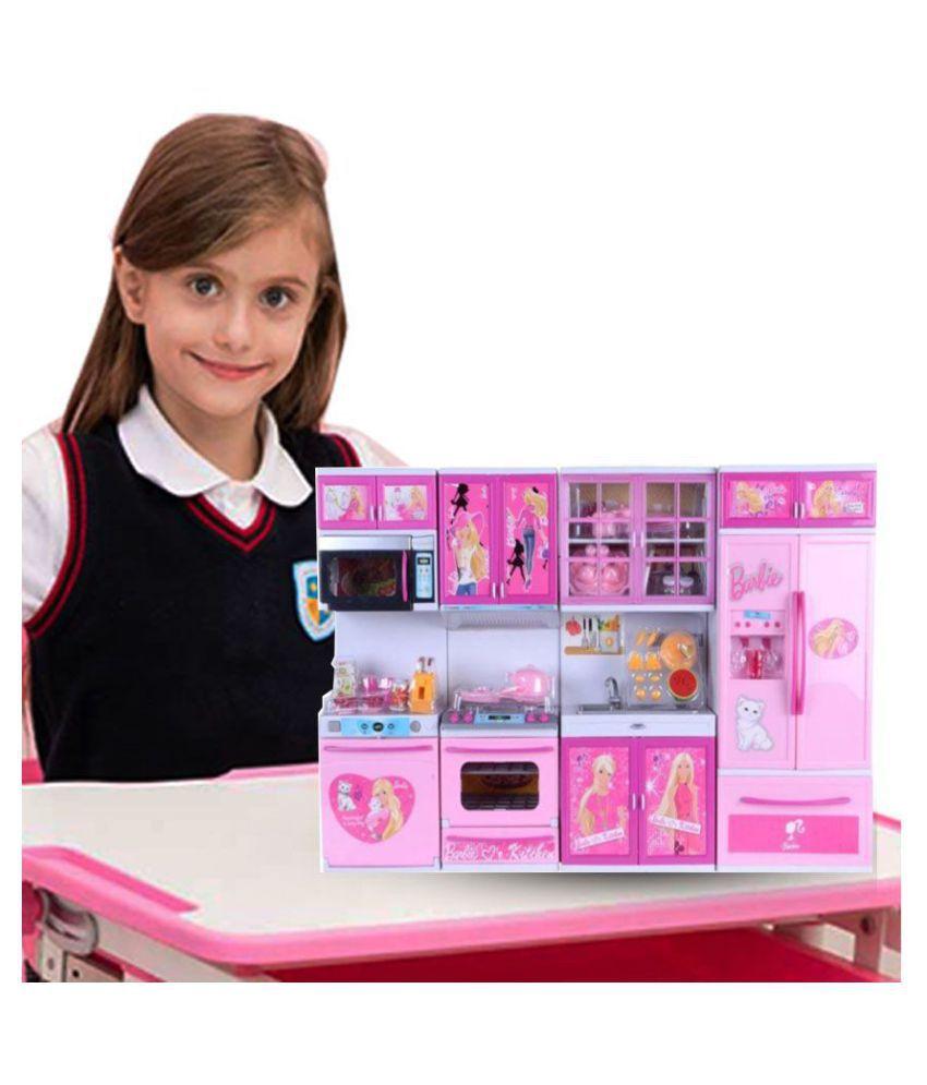 J K International Barbie Dream House Kitchen Set Light Sound With
