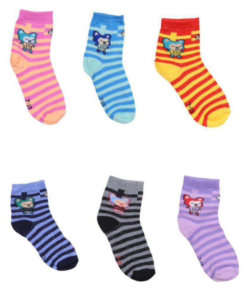 Tahiro Multicolour Cotton Striped Ankle Length Socks For Kids   Pack Of 6
