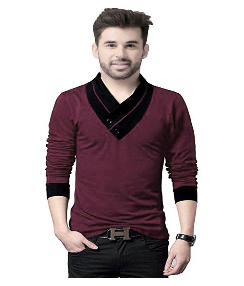 AD & AV Maroon Full Sleeve T-Shirt Pack of 1