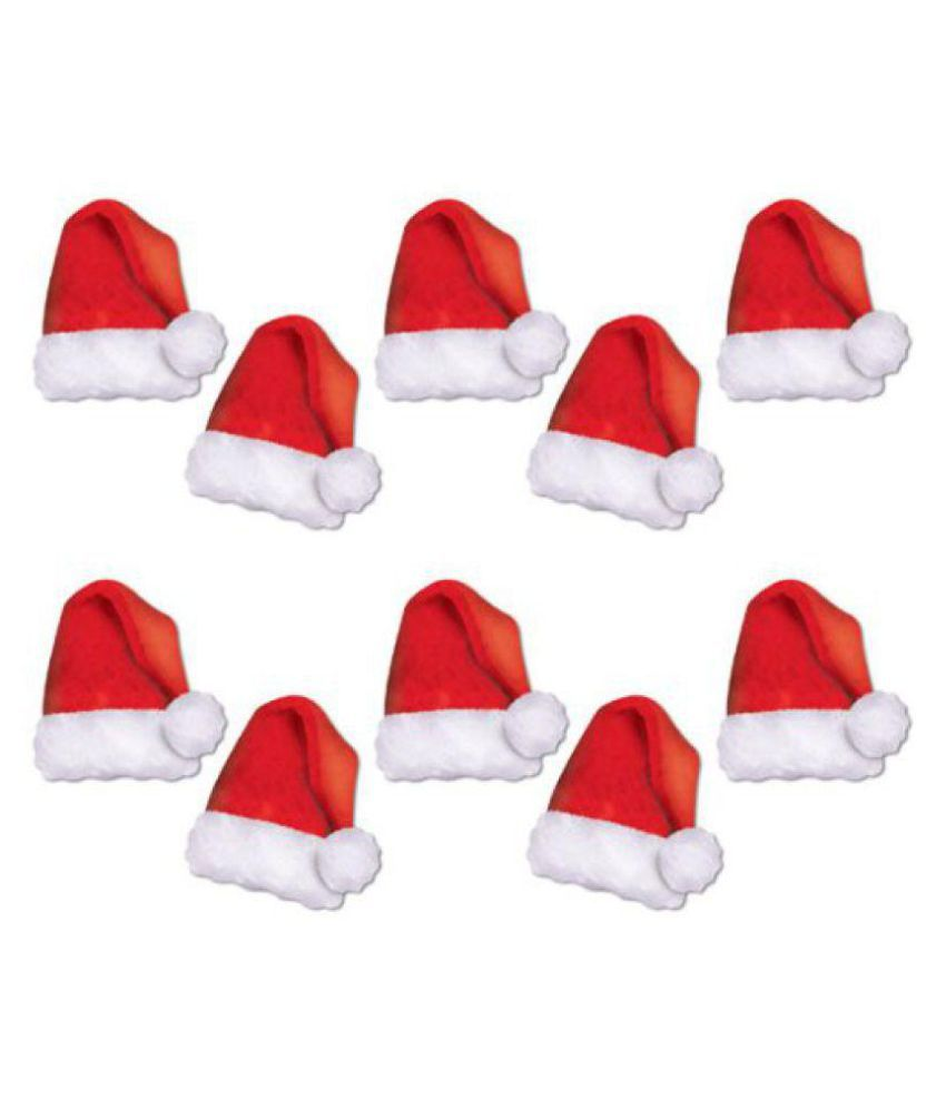 Christmas Party Red & White Santa Cap Pack of 10
